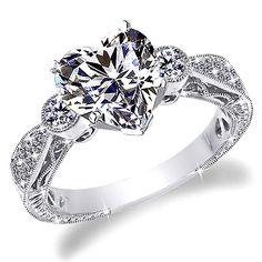 1 CT D-E HEART SHAPE ANTIQUE STYLE ENGRAVE DIAMOND #ENGAGEMENTRING