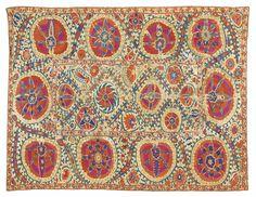 Broderie Suzani, Asie centrale, travail du sud-ouest de l'Ouzbékistan, seconde moitié du XIXe siècle A SUZANI EMBROIDERY, CENTRAL ASIA, SOUTH WEST UZBEKISTAN, SECOND HALF OF THE 19TH CENTURY  260 x 170 cm 102 1/3 x 67 in