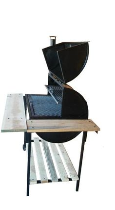 wow! quiero ese asador para mi novio Bbq Grill Diy, Oil Drum Bbq, Custom Bbq Smokers, Bbq Stove, Barrel Bbq, Fire Pit Grill, Grill Design, Rocket Stoves, Metal Furniture