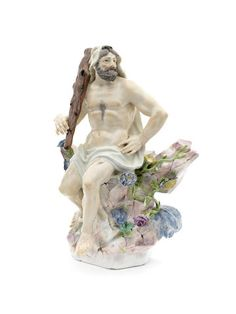 A large Meissen figure of Hercules, mid 18th century