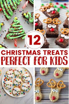 Christmas treats for kids | 12 easy Christmas treats for kids to make this holiday season! These easy to make Christmas desserts, cookies and treats are perfect for school, church, preschool or even as school gifts. This Christmas cookie for kids list includes both store bought and homemade ideas that are both creative and fun! #christmas #christmastreats Christmas Cookies Kids, Christmas Tree Brownies, Easy Christmas Treats, Christmas Party Food, Cookies For Kids, Christmas Dishes, Christmas Appetizers, Christmas Goodies, Holiday Cookies