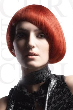 Bright Red Bowl Cut