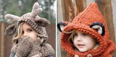 Inšpirácie na pletené a háčkované kapucne pre deti spod šikovných rúk Heidi May