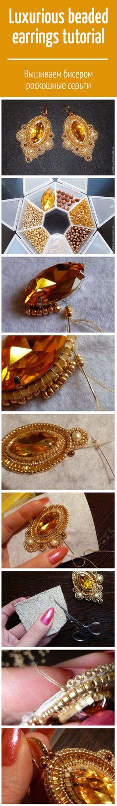 Luxurious beaded earrings tutorial / Вышиваем бисером роскошные серьги