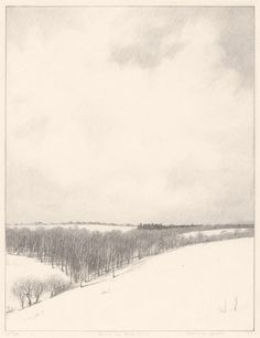Albert Barker, Snow on Rose Valley, lithograph, 1927.