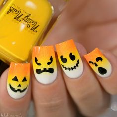 Halloween Nail Art Design using Winstonia stamping plate.  Jack O Lantern, candy corn gradient.
