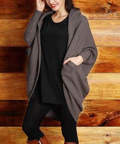 Another great find on #zulily! Charcoal Ribbed Knit Cocoon Cardigan - Plus by Reborn Collection #zulilyfinds I am inlove with this