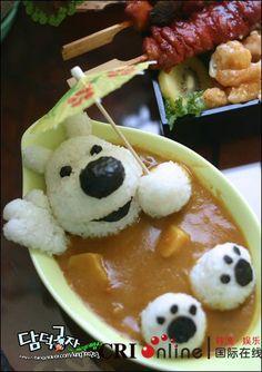 Bear in a bath cute food art! Cute Food, Good Food, Yummy Food, Healthy Food, Amazing Food Creations, Japanese Food Art, Creative Food Art, Bento Recipes, Snacks Für Party