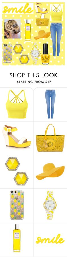 """""""MellowYellow"""" by melissa-nesbitt on Polyvore featuring LE3NO, Paige Denim, BUCO, ABS by Allen Schwartz, Accessorize, Casetify and Kate Spade"""
