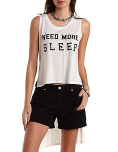 High-Low Need More Sleep Graphic Tank