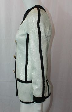 Chanel Vintage Black and White Sequined Evening Jacket - 38 - 1980's | From a collection of rare vintage jackets at https://www.1stdibs.com/fashion/clothing/jackets/
