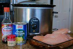 Crockpot Teriyaki Chicken - only 4 ingredients, no prep, just dump in the crockpot