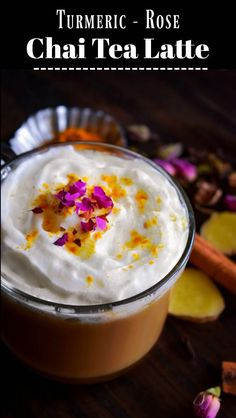 Turmeric Rose Chai T Turmeric Rose Chai Tea Latte: Easy Drink Recipes, Coffee Recipes, Yummy Drinks, Yummy Food, Healthy Recipes, Tea Drinks, Cocktails, Delicious Dishes, Delicious Recipes