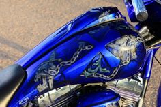Love the royal blue color scheme on this painted motorcycle tank