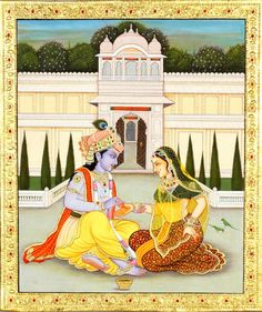 Krishna Painting the Hands of Radha (Embossed With 24 Karat Gold), Hindu Water Color Painting on Hard Board Krishna Painting, Madhubani Painting, Krishna Art, Radhe Krishna, Pichwai Paintings, Indian Art Paintings, Watercolor Paintings, Ancient Indian Art, Indian Folk Art
