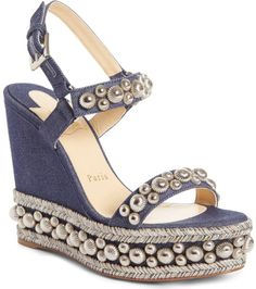 a2a15e36a6f Christian Louboutin Rondaclou Studded Wedge Sandal in Blue. Pre-order this  style today!