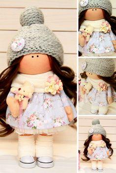 Soft doll Art doll Fabric doll Handmade doll Nursery doll Cloth doll Baby doll Tilda doll Christmas doll Yellow doll Rag doll Toy by Tanya A