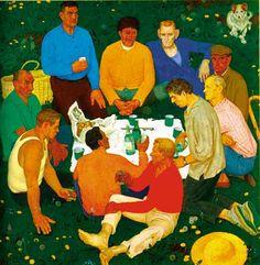 "Dmitri Zhilinskii (Дмитрий Жилинский) 1967 part of ""The New Lands Tryptich"" Russian Painting, Russian Art, Kandinsky, Painting Prints, Art Prints, Socialist Realism, Soviet Art, Hyperrealism, Pulp Art"