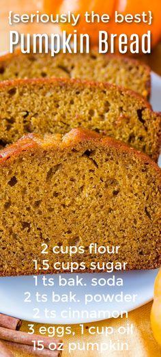 Recipe Using Pumpkin, Best Pumpkin Bread Recipe, Canned Pumpkin Recipes, Moist Pumpkin Bread, Pureed Food Recipes, Baking Recipes, Dessert Recipes, Easy Pumpkin Desserts, Pumpkin Cookies