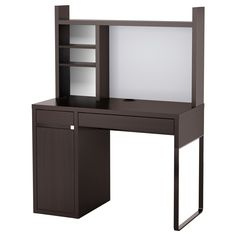 IKEA - MICKE, Computer work station, black-brown, , You can keep your desk clear of paper by writing your notes on the magnetic writing board on the back panel or fastening your to-do lists there with a magnet.You can adjust the shelves to fit different things, and adjust them again whenever you need to. Adjustable shelves help you use your space more efficiently.Extra room above the top shelf where you can keep your books, CDs or DVDs. The side panels act as bookends and keep everything in…