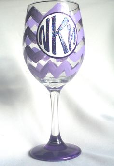 chevron painted wine glass - Google Search
