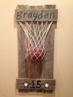 Basketball pallet art more (this even has his name and his number! Basketball Nursery, Basketball Crafts, Basketball Party, Basketball Hoop, Basketball Decorations, Baby Boy Basketball, Basketball Room Decor, Basketball Drawings, Basketball Videos