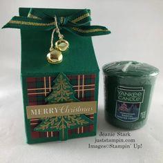 Stampin' Up! Christmas Gift Box, Plaid Christmas, Christmas Deco, Christmas Cards, Candle Store, Candle Box, Fun Fold Cards, Custom Boxes, Coordinating Colors