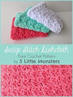 Sedge Stitch Dishcloth- Free Crochet Pattern by 5 Little Monsters #crochet #dishcloth #freepattern