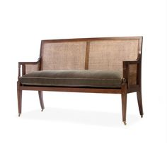 A unique bench, one of it's kind, designed to commemorate our founder, Sue Cook, the bench is modelled on a bergere armchair we sourced over 20 years ago, Georgian in period, so the proportions are perfect.  Possibly the only caned bench seat available in England today, we have produced it with a beautiful hardwood frame so you can select your finish and wood so it goes perfectly in your home.