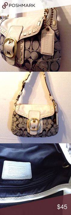 Authentic Coach Signature Baguette Handbag Features back exterior pocket very clean in and out. No defects. Coach Bags Satchels