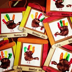 Easy Thanksgiving Craft Ideas for Kids Turkey Handprint Picture Frames. Easy Thanksgiving Craft Ideas for Kids Turkey Handprint Picture Frames. Preschool Projects, Daycare Crafts, Classroom Crafts, Toddler Crafts, Preschool Activities, Turkey Crafts Preschool, Kid Crafts, Easy Crafts, Thanksgiving Crafts For Toddlers