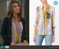 e09ed6a3829a Diane von Furstenberg Abstract Print Shirt worn by Kristian Alfonso on Days  of our Lives Cotton
