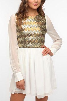 Dallin Chase Sequin Bodice Chiffon Dress