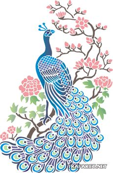 Peacock with Blossom Stencil Designs from Stencil Kingdom Peacock Drawing, Peacock Art, Peacock Design, Peacock Vector, Peacock Tattoo, Peacock Theme, Stencil Designs, Stencil Art, Fabric Painting