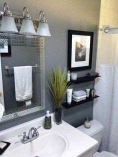 Get inspired with these gray bathroom decorating ideas. Restroom ideas, Gray bathroom walls, Half bathroom decor,Grey bathrooms inspiration, Classic grey bathrooms and Images of bathrooms. Small Bathroom Storage, Bathroom Design Small, Bathroom Designs, Bath Design, Small Bathroom Colors, Basement Bathroom, Master Bathroom, Bathroom Gray, Bathroom Cabinets