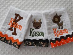 for Lane    Personalized DeeR HuNTiNG Baby Gift Set of 3 THREE Personalized BuRP CLoTHs with appliqued initial AND embroidered baby's name. $37.50, via Etsy.