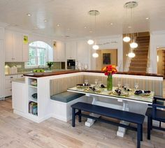 Island with bench seating