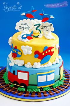 Plane and Trains Cake