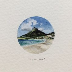 Day 97 : View of Lion's Head from Camp's Bay beach. 28 x 28 mm…