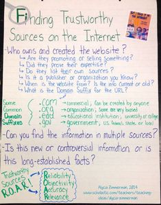 """""""Finding Trustworthy Sources on the Internet"""" Anchor Chart - New Anchor Charts for a New Year!   Scholastic.com"""