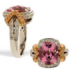 "Charles Krypell ""Pastel"" Pink Topaz and Diamond Ring"