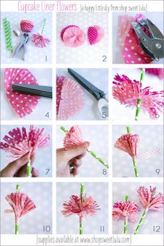 DIY cupcake liner flower! Make use of your extra cupcake liner! #diy #party #decoration