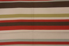 Schumacher Woven Stripe Upholstery Fabric in Red/Brown