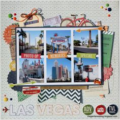 Las Vegas travel scrapbook layout by Megan Liane