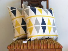 Navy blue Gray Yellow Ikat pillow throw 18 x 18 Triangle modern bold big Geometric white Gray blue navy cotton Home Decorative set of TWO. $43.00, via Etsy.