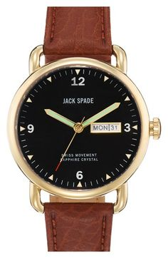 Jack Spade 'Buckner' Leather Strap Watch