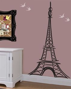 Can't go to Paris,France? Bring it to you! with this artistic Eiffel Tower wall decal sticker. Whimsical and fun style, this wall sticker adds flair to any room.  Choice of three sizes.