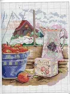 """A Fruitful Life ~ Grandmother's House"" cross stitch design by Paula Vaughan. Saved from facilisimo.com"