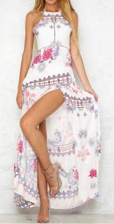 Bohemian Floral Printed Halter Backless Slit Maxi Dress