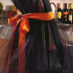 black tulle+orange ribbon+spider accent